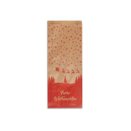 1000 Bäckerfaltenbeutel Frohes Fest 12+5x28cm Faltenbeutel Papiertüten Tüten